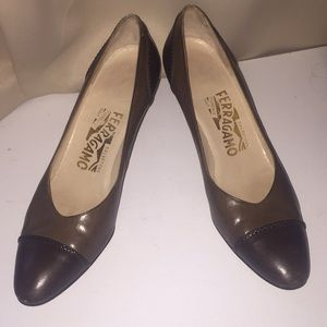 Salvatore Ferragamo two tone brown leather heels